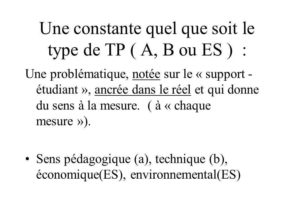 Une constante quel que soit le type de TP ( A, B ou ES ) :