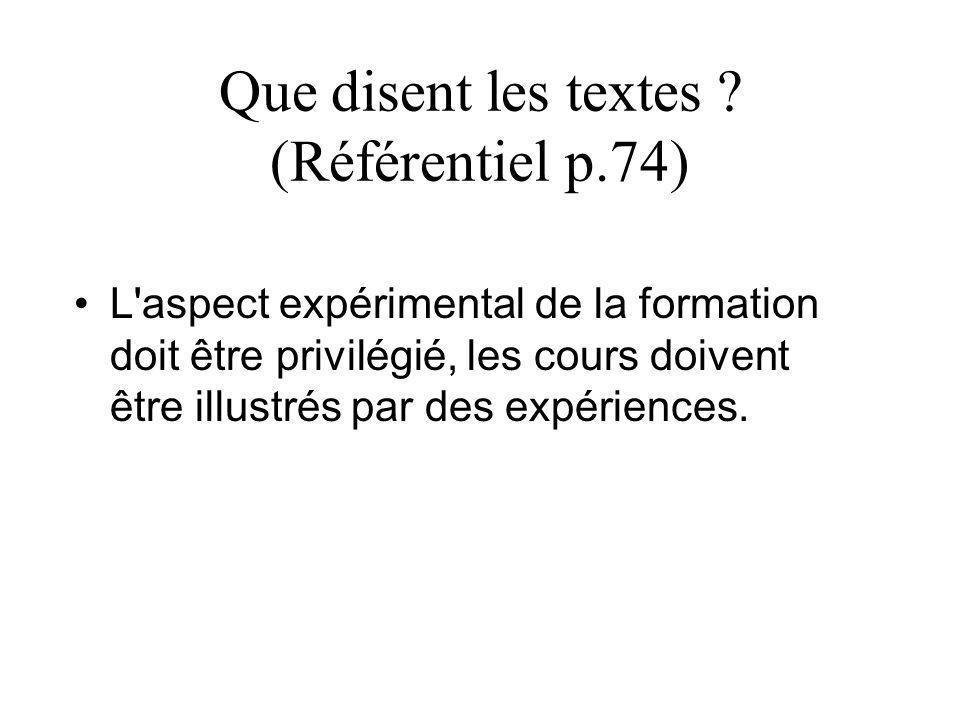 Que disent les textes (Référentiel p.74)