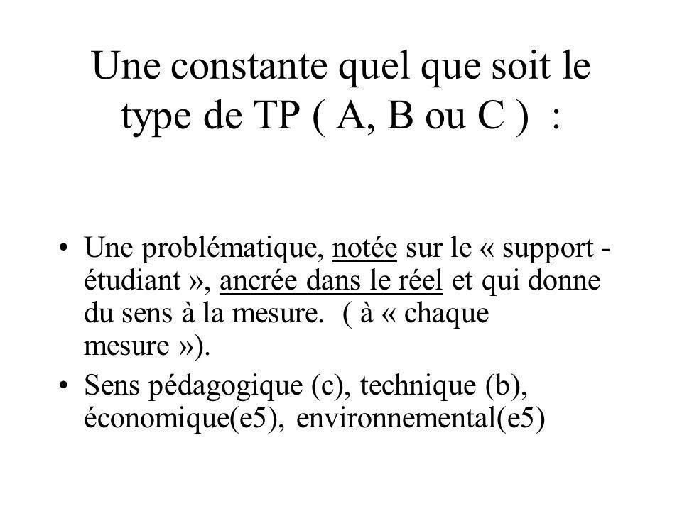 Une constante quel que soit le type de TP ( A, B ou C ) :