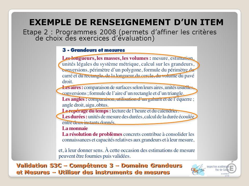 EXEMPLE DE RENSEIGNEMENT D'UN ITEM