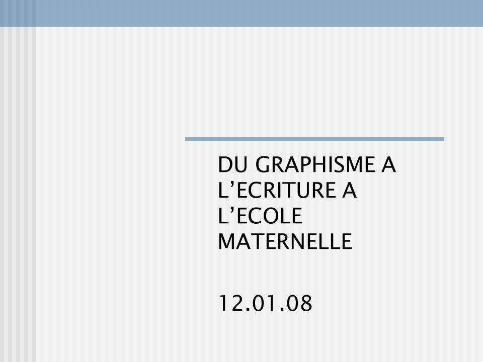 DU GRAPHISME A L'ECRITURE A L'ECOLE MATERNELLE 12.01.08