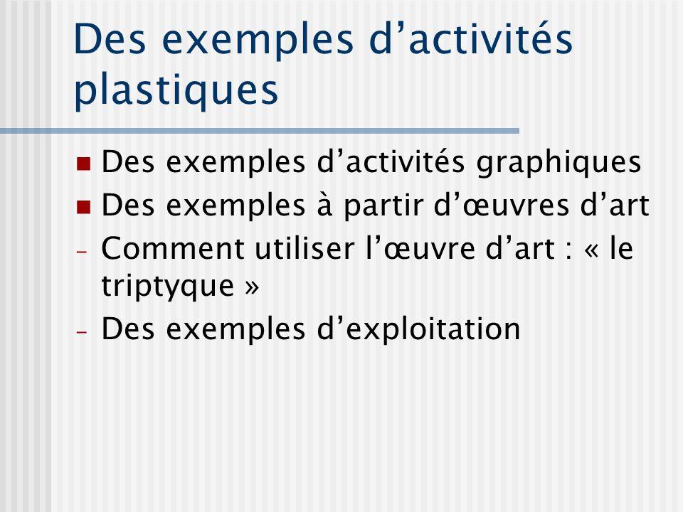 Des exemples d'activités plastiques