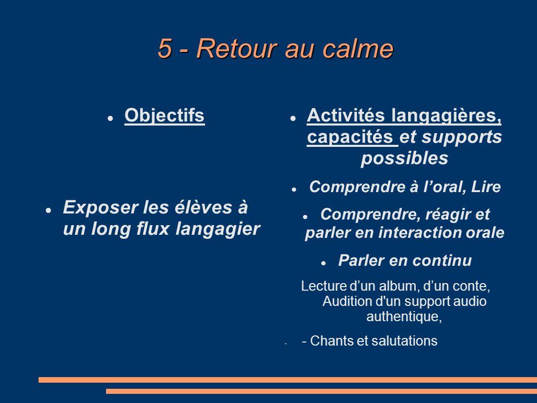 5 - Retour au calme Objectifs
