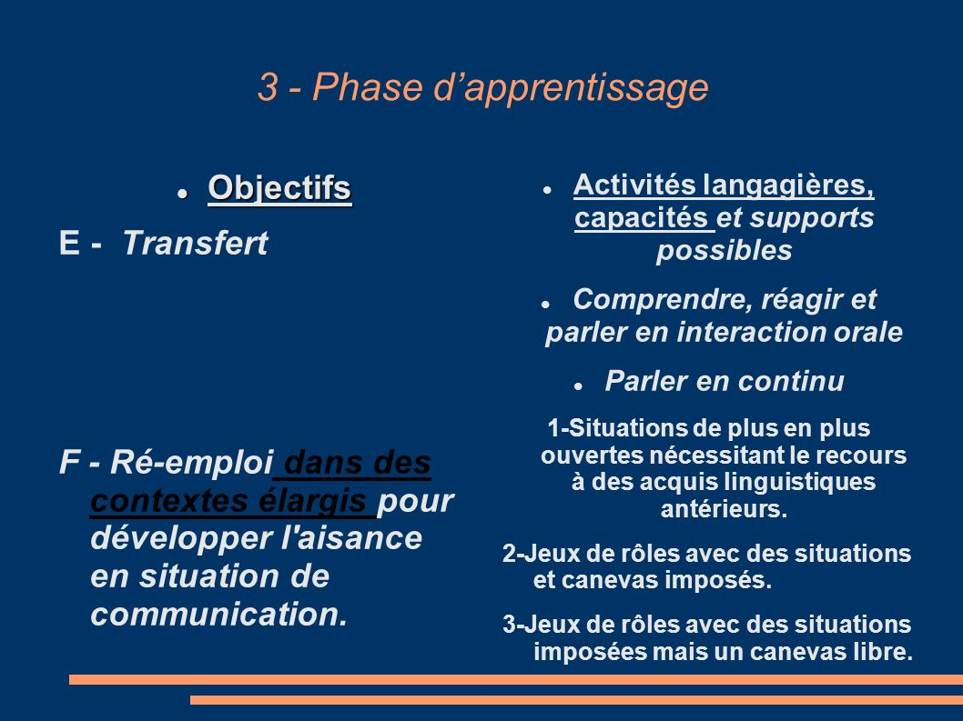 3 - Phase d'apprentissage