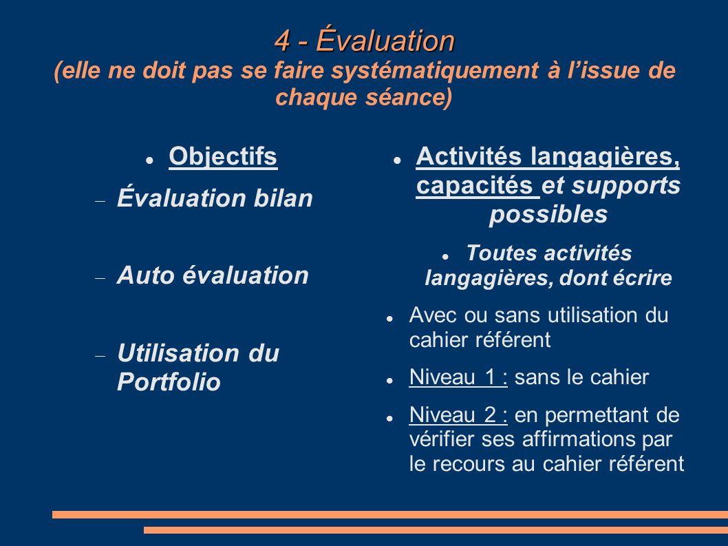 4 - Évaluation (elle ne doit pas se faire systématiquement à l'issue de chaque séance)