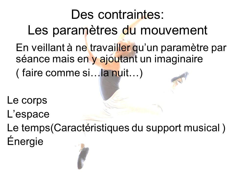Des contraintes: Les paramètres du mouvement