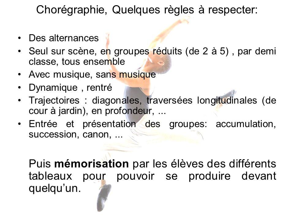 Chorégraphie, Quelques règles à respecter:
