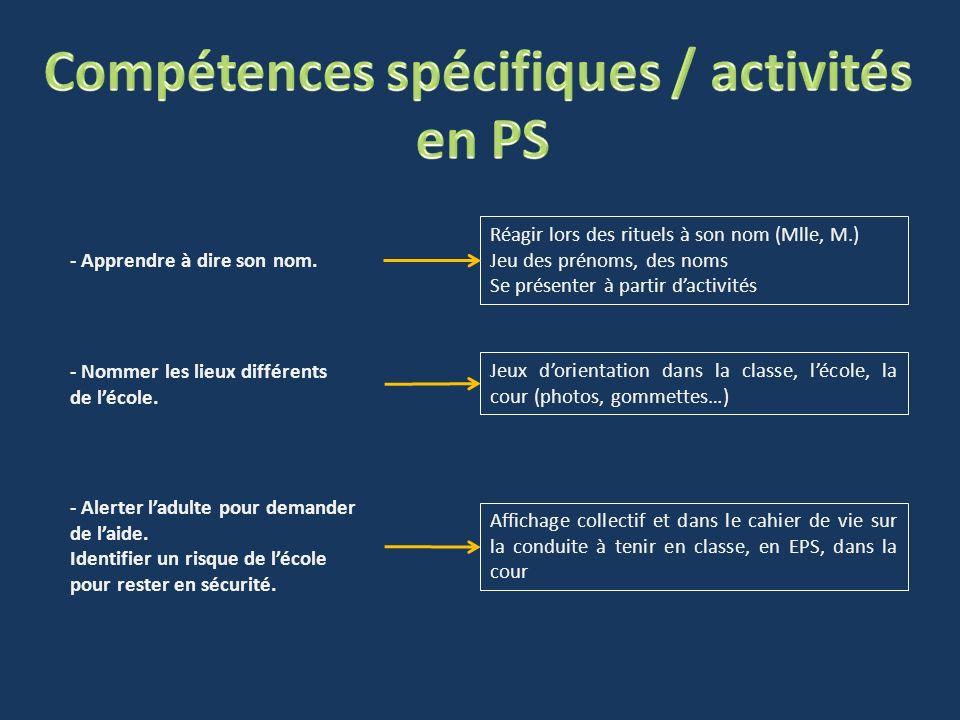 Compétences spécifiques / activités
