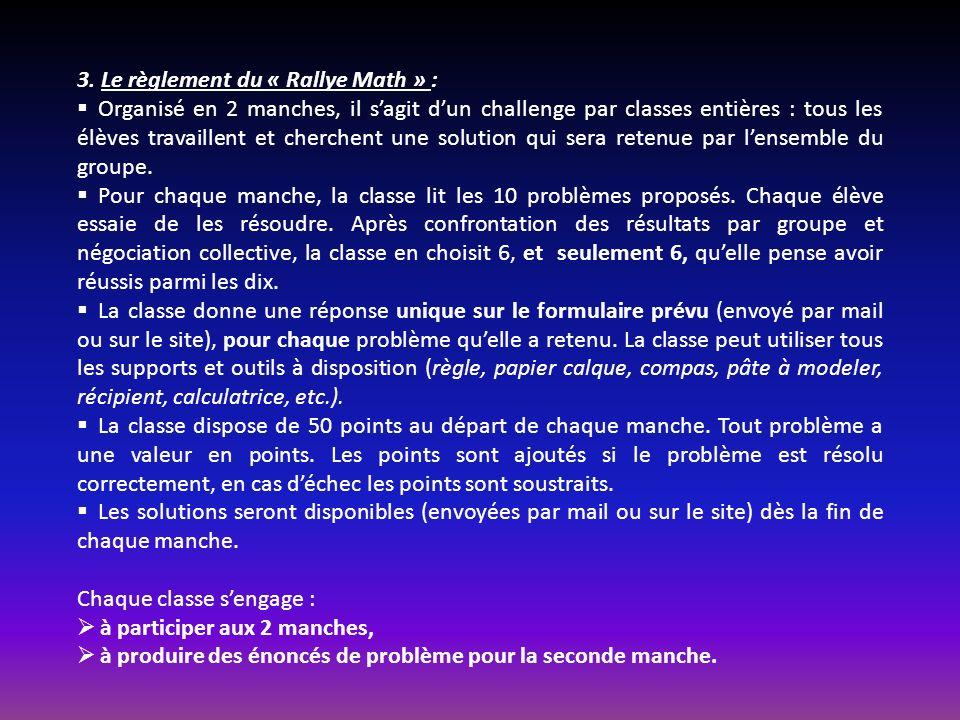 3. Le règlement du « Rallye Math » :
