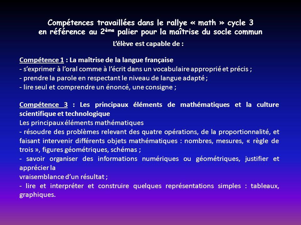 Compétences travaillées dans le rallye « math » cycle 3