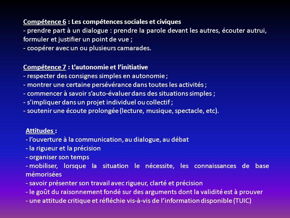Compétence 6 : Les compétences sociales et civiques
