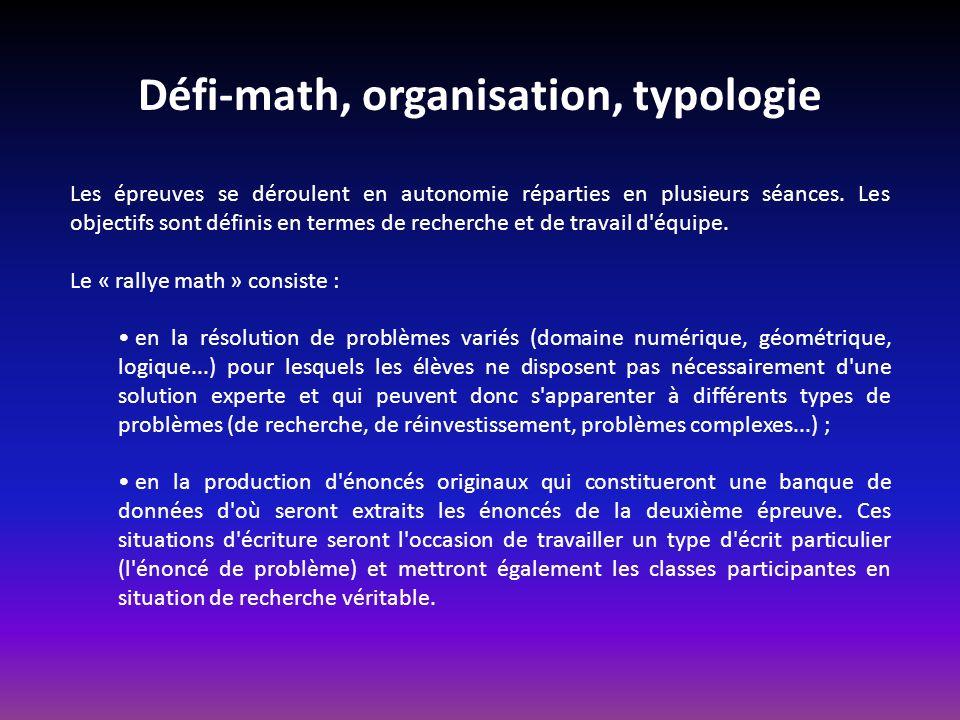 Défi-math, organisation, typologie