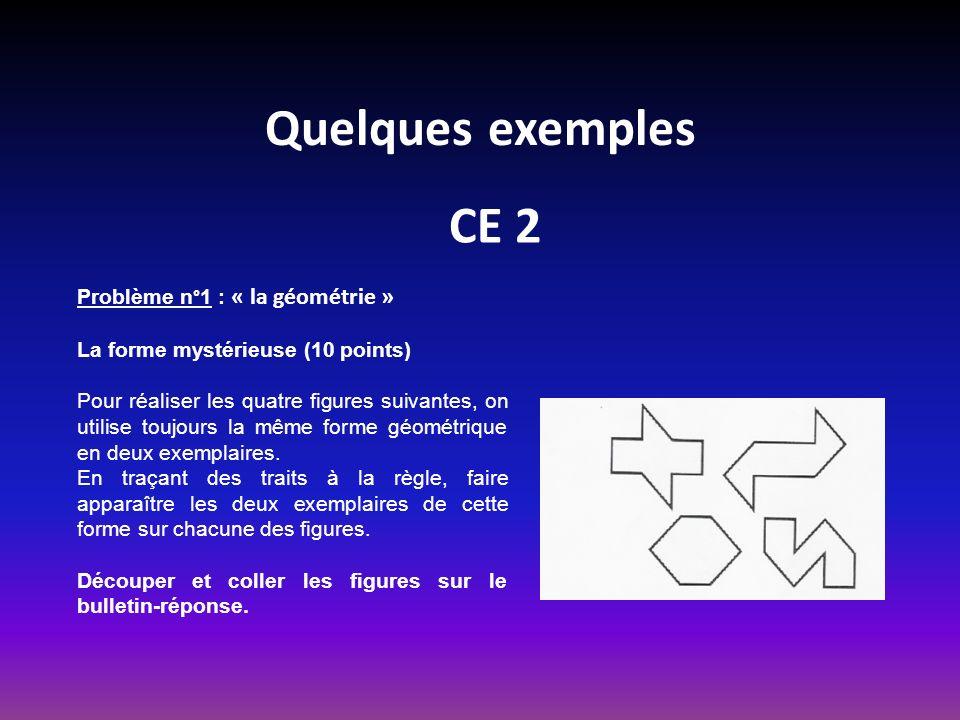 Quelques exemples CE 2 Problème n°1 : « la géométrie »