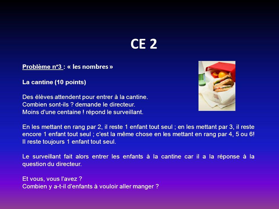 CE 2 Problème n°3 : « les nombres » La cantine (10 points)