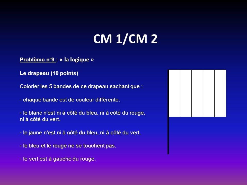 CM 1/CM 2 Problème n°9 : « la logique » Le drapeau (10 points)