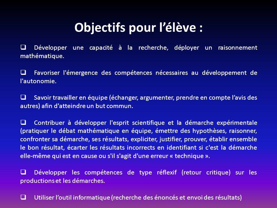 Objectifs pour l'élève :