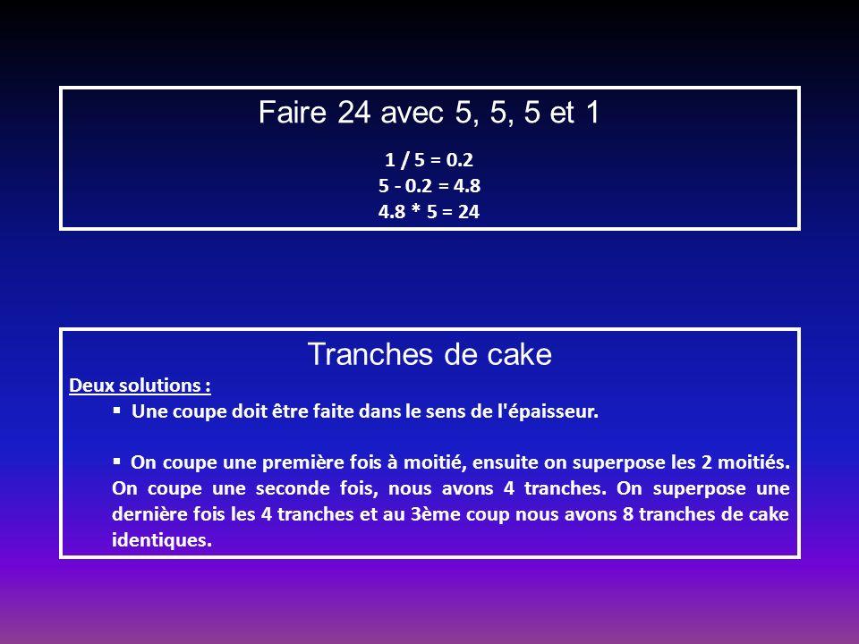 Faire 24 avec 5, 5, 5 et 1 Tranches de cake 1 / 5 = 0.2 5 - 0.2 = 4.8