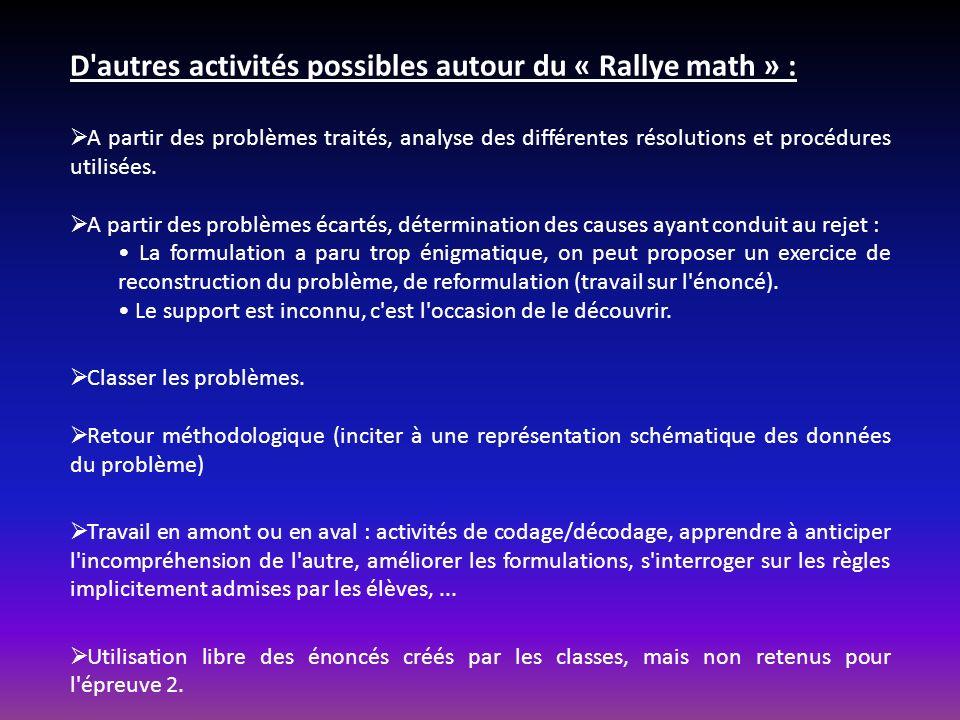 D autres activités possibles autour du « Rallye math » :
