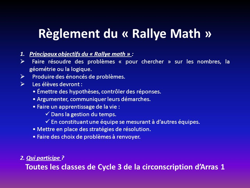 Règlement du « Rallye Math »