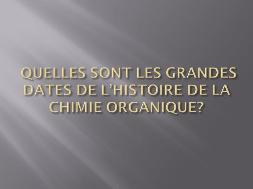QUELLES SONT LES GRANDES DATES DE L'HISTOIRE DE LA CHIMIE ORGANIQUE