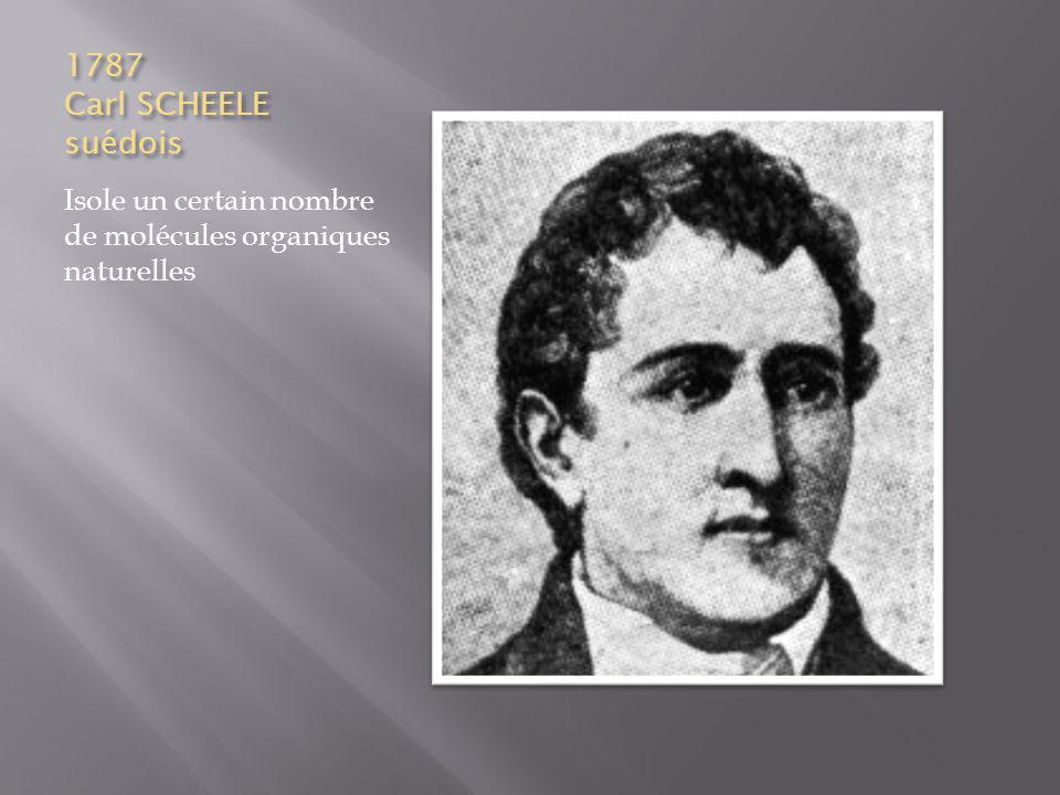 1787 Carl SCHEELE suédois Isole un certain nombre de molécules organiques naturelles