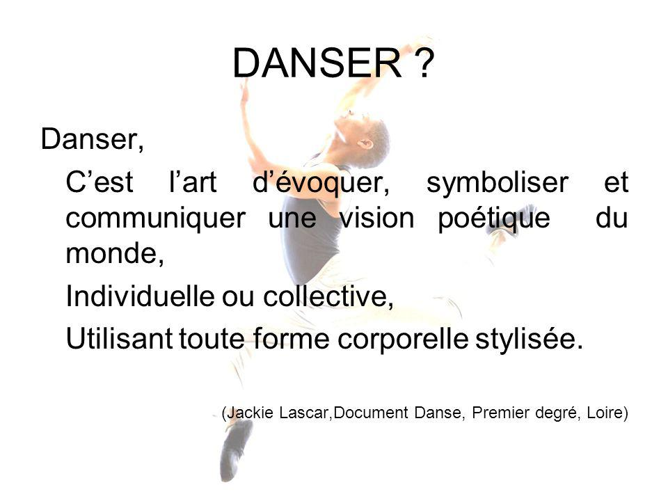 DANSER Danser, C'est l'art d'évoquer, symboliser et communiquer une vision poétique du monde, Individuelle ou collective,
