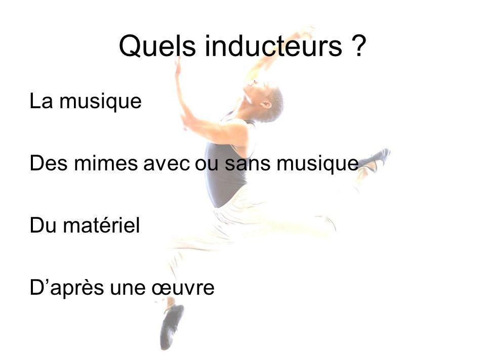 Quels inducteurs La musique Des mimes avec ou sans musique