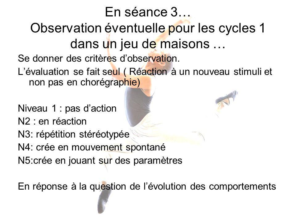 En séance 3… Observation éventuelle pour les cycles 1 dans un jeu de maisons …