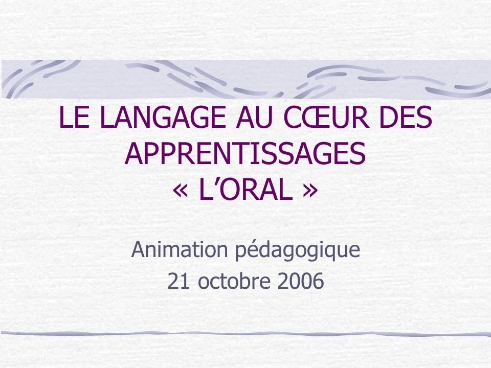 LE LANGAGE AU CŒUR DES APPRENTISSAGES « L'ORAL »