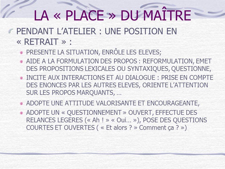 LA « PLACE » DU MAÎTRE PENDANT L'ATELIER : UNE POSITION EN « RETRAIT » : PRESENTE LA SITUATION, ENRÔLE LES ELEVES;