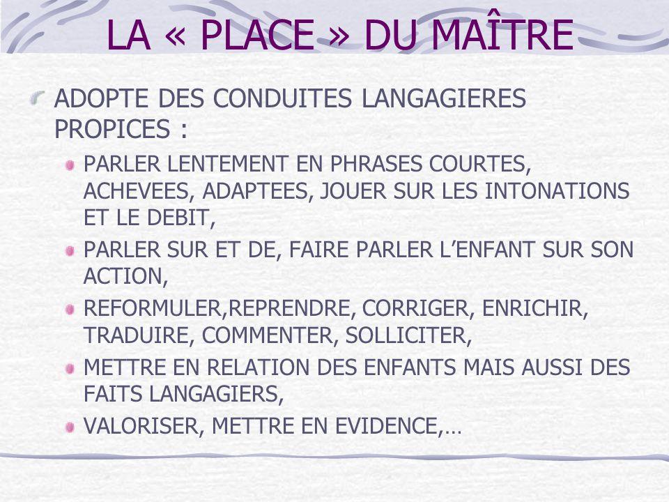 LA « PLACE » DU MAÎTRE ADOPTE DES CONDUITES LANGAGIERES PROPICES :