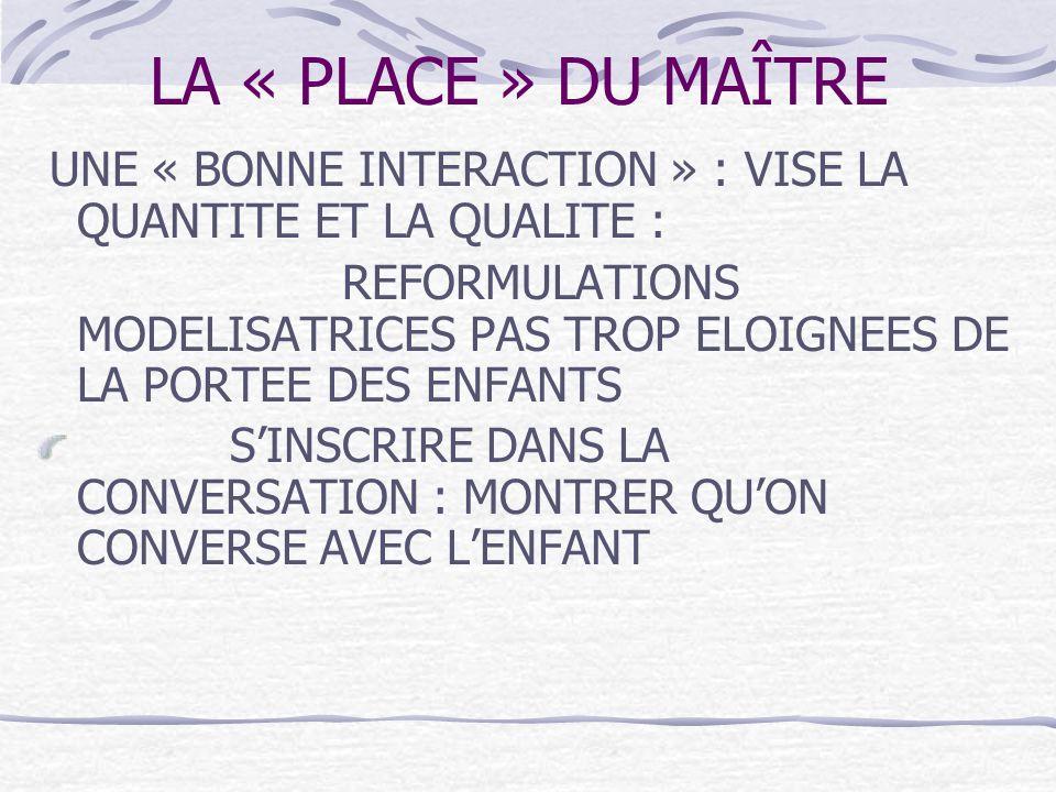 LA « PLACE » DU MAÎTRE UNE « BONNE INTERACTION » : VISE LA QUANTITE ET LA QUALITE :