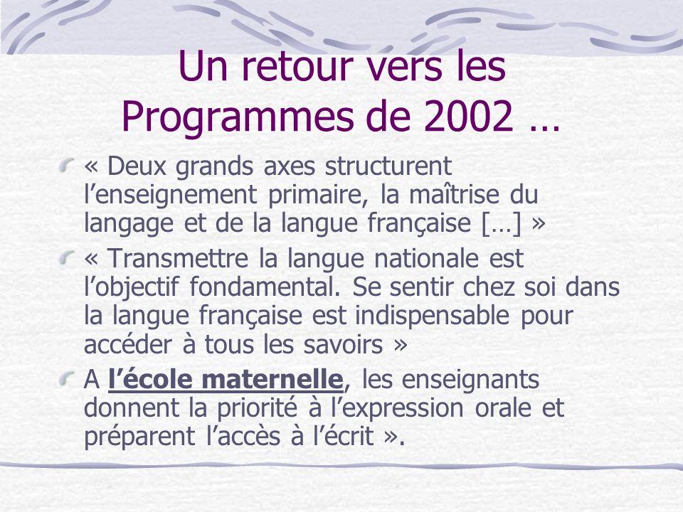 Un retour vers les Programmes de 2002 …