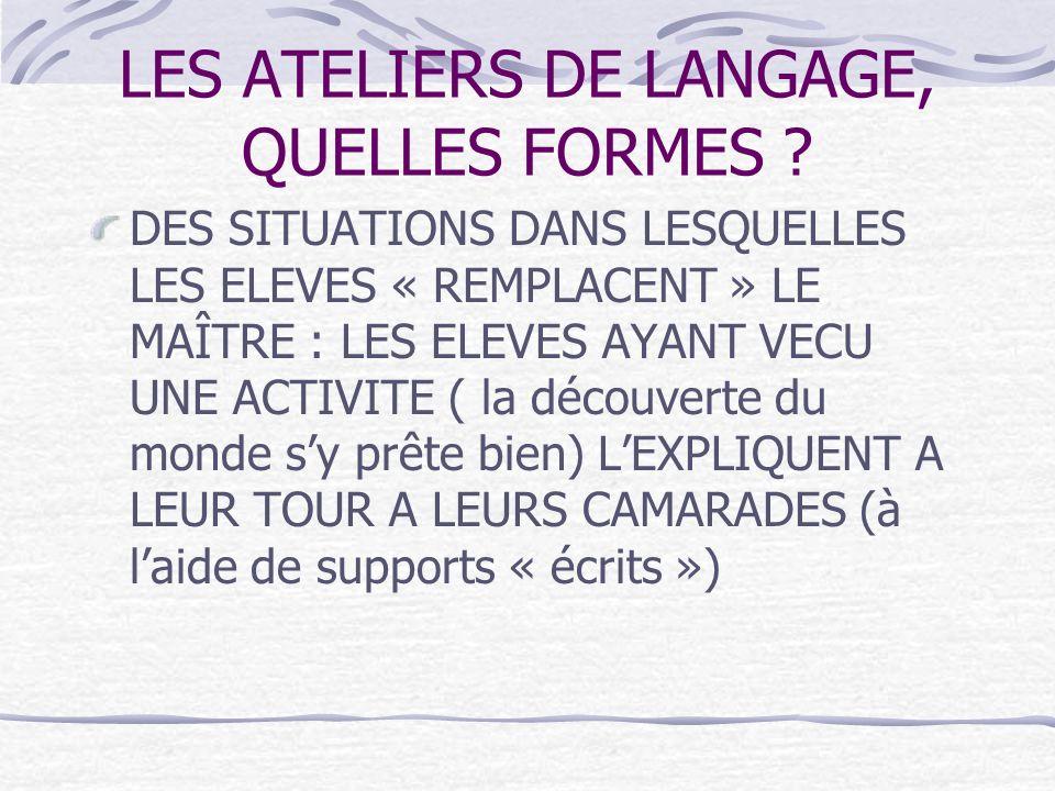 LES ATELIERS DE LANGAGE, QUELLES FORMES