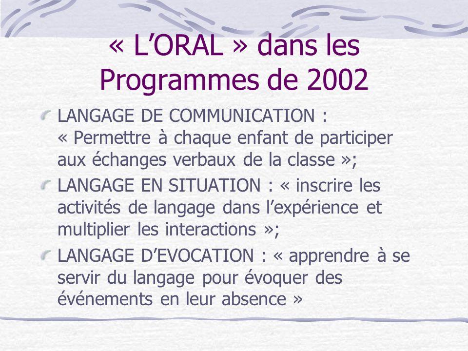 « L'ORAL » dans les Programmes de 2002