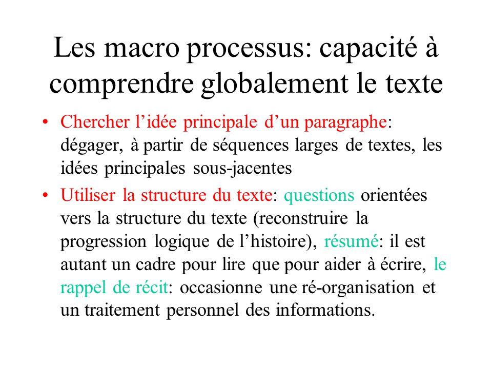Les macro processus: capacité à comprendre globalement le texte