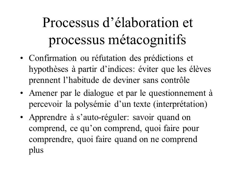 Processus d'élaboration et processus métacognitifs