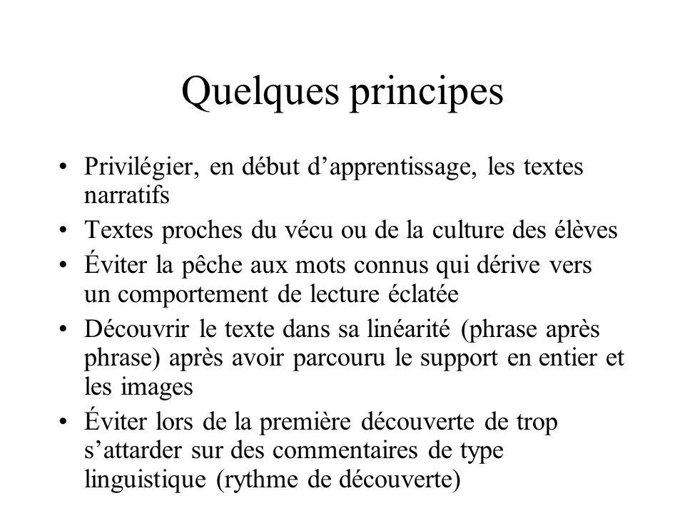 Quelques principesPrivilégier, en début d'apprentissage, les textes narratifs. Textes proches du vécu ou de la culture des élèves.