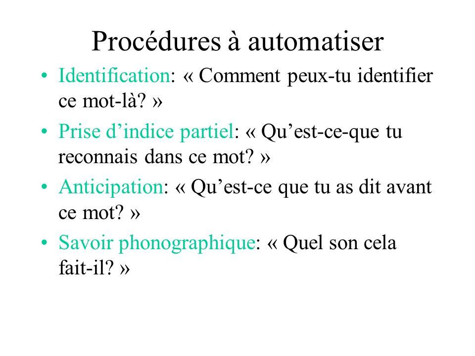 Procédures à automatiser