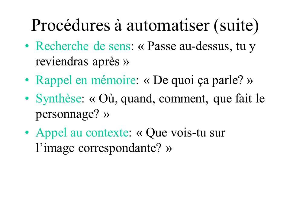 Procédures à automatiser (suite)