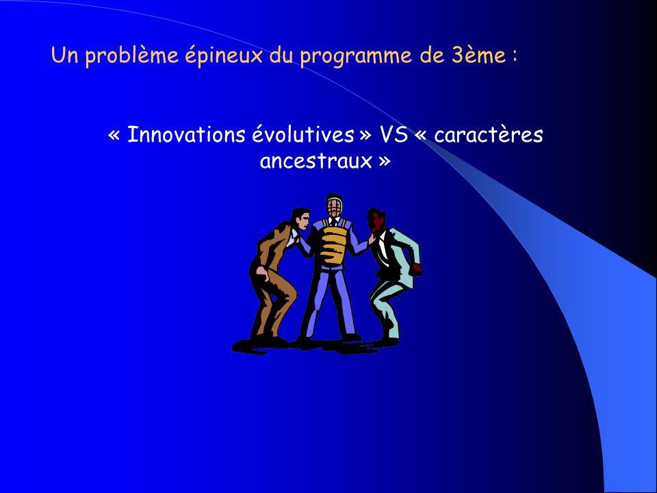 « Innovations évolutives » VS « caractères ancestraux »