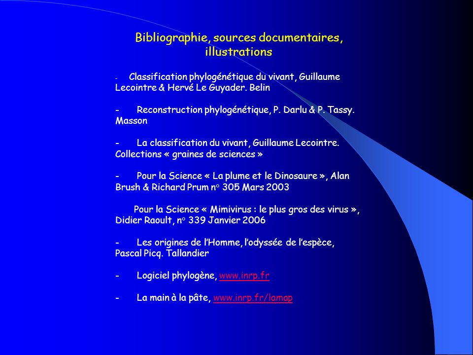 Bibliographie, sources documentaires, illustrations