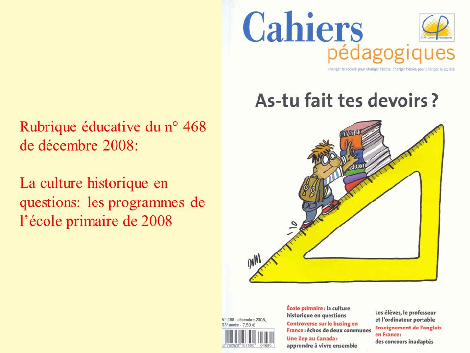 Rubrique éducative du n° 468 de décembre 2008: