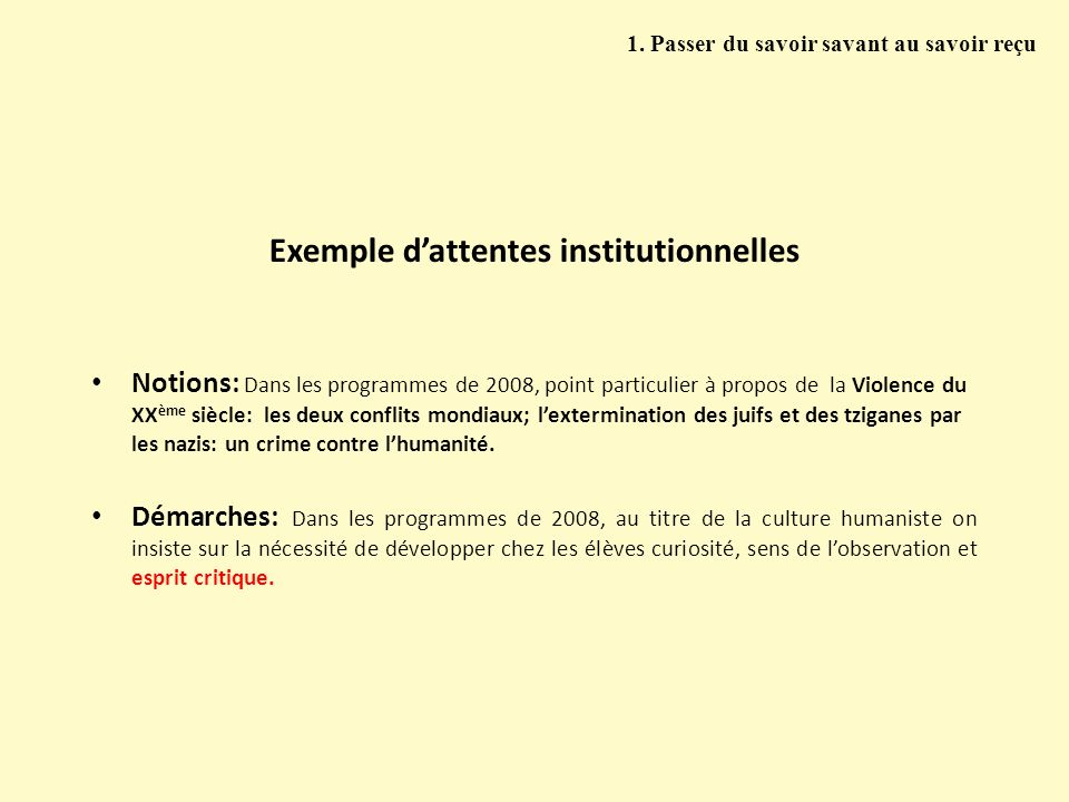 Exemple d'attentes institutionnelles