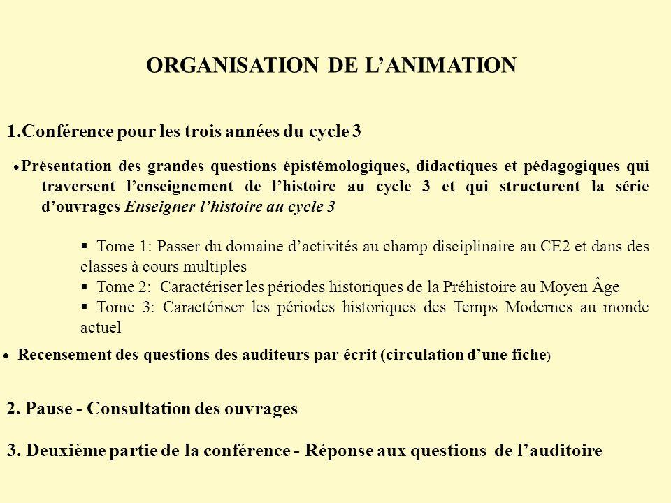 ORGANISATION DE L'ANIMATION