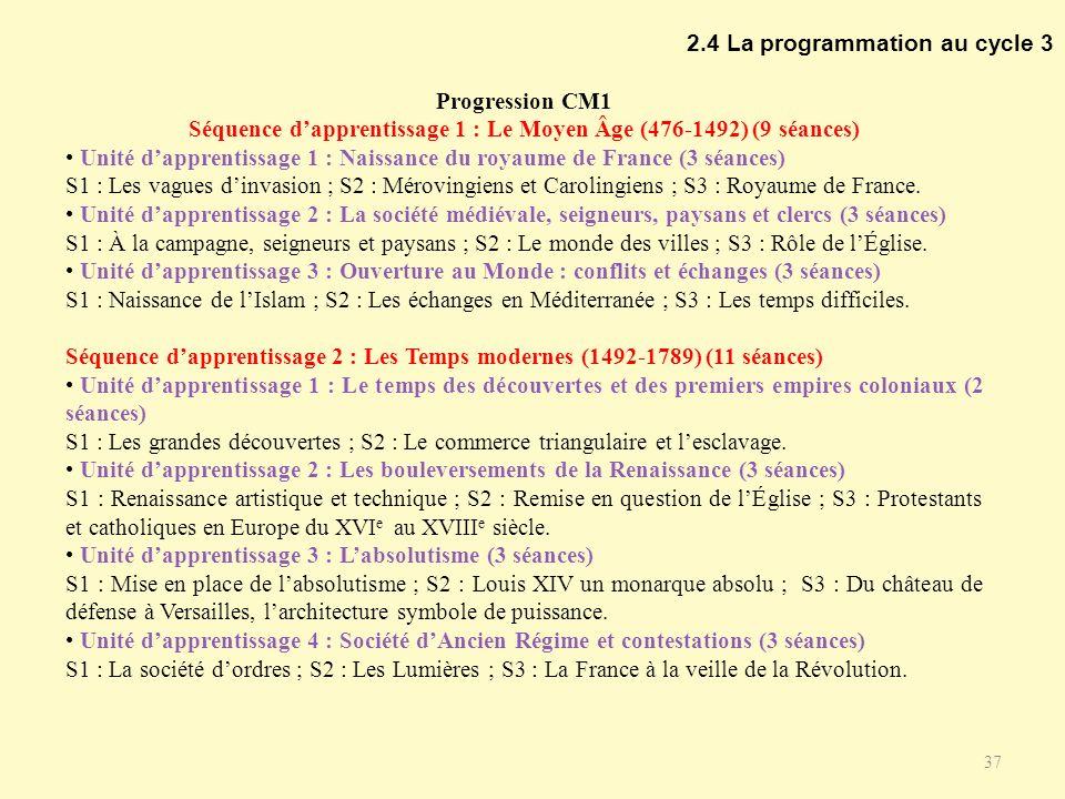 Séquence d'apprentissage 1 : Le Moyen Âge (476-1492) (9 séances)