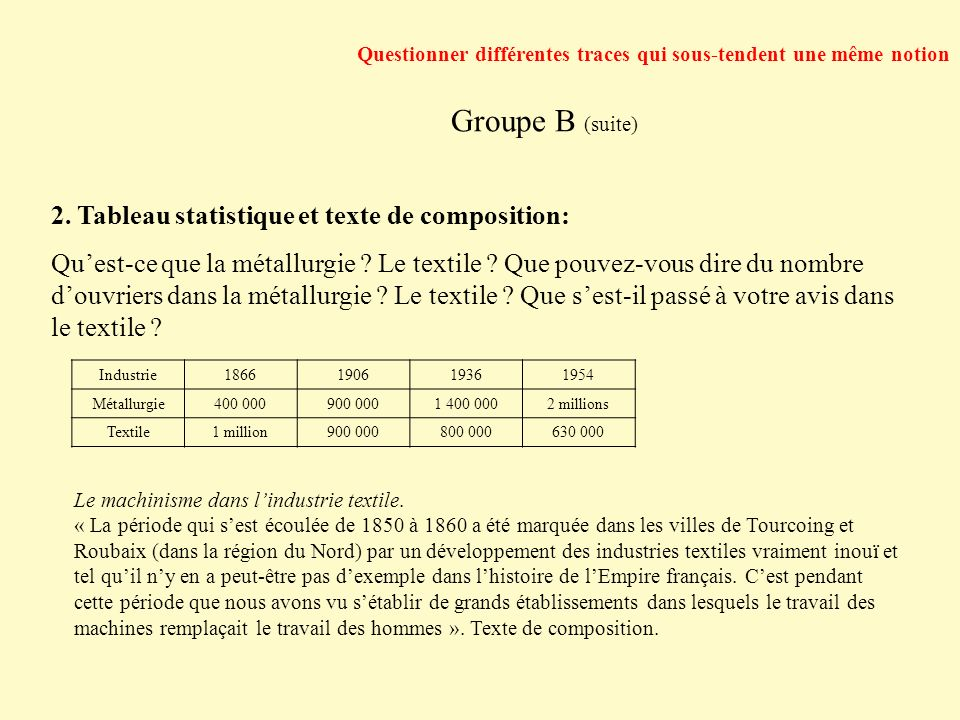 Groupe B (suite) 2. Tableau statistique et texte de composition:
