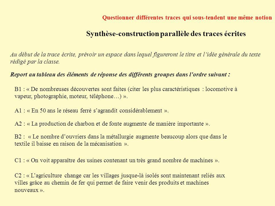 Synthèse-construction parallèle des traces écrites