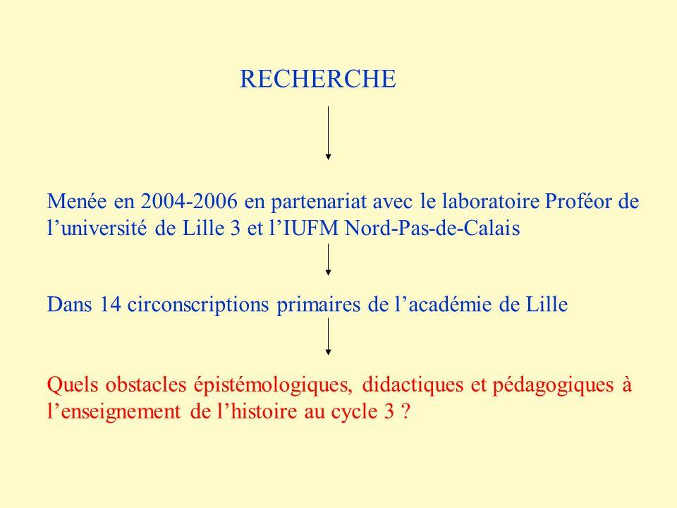 RECHERCHE Menée en 2004-2006 en partenariat avec le laboratoire Proféor de l'université de Lille 3 et l'IUFM Nord-Pas-de-Calais.