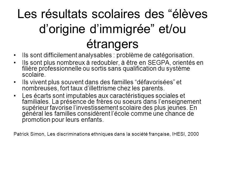 Les résultats scolaires des élèves d'origine d'immigrée et/ou étrangers
